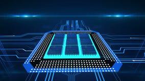 Placa de circuito con impulsos corrientes, procesión de los datos, CPU, tecnología del ordenador ilustración del vector