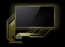 Placa de circuito con la pantalla ilustración del vector