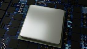 Placa de circuito, concepto de la CPU de los procesadores del ordenador central, cierre para arriba del microprocesador digital d ilustración del vector