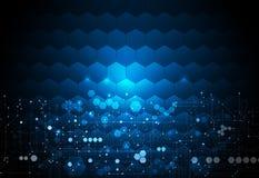 Placa de circuito da ilustração do vetor no fundo dos hexágonos tecnologia digital e engenharia da Olá!-tecnologia ilustração stock