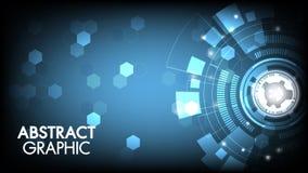 Placa de circuito da inovação da tecnologia do sumário do vetor e conceito de uma comunicação com hexágonos para o fundo da tecno ilustração do vetor