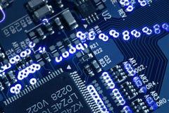 Placa de circuito de incandescência azul Imagem de Stock Royalty Free