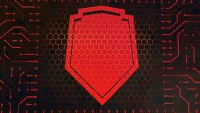 Placa de circuito del símbolo de la cartera con el escudo libre illustration