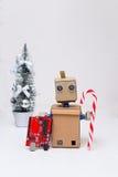 Placa de circuito del whith del robot Decoración del Año Nuevo Imagenes de archivo