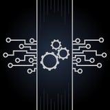 Placa de circuito e vetor das engrenagens no fundo preto Projeto do cartão-matriz e do computador Imagem de Stock Royalty Free