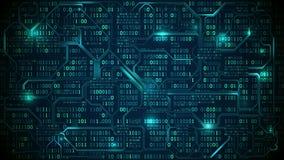 Placa de circuito electrónica abstracta con código binario, la red neuronal y datos grandes