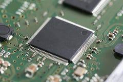 Placa de circuito electrónica del primer concepto del estilo de la tecnología fotos de archivo libres de regalías