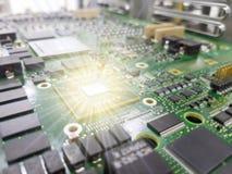 Placa de circuito electrónica del primer concepto del estilo de la tecnología imagen de archivo libre de regalías