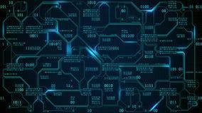 Placa de circuito electrónica futurista abstracta con código binario, red neuronal y datos grandes - un elemento de la inteligenc