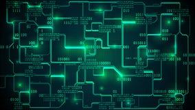 Placa de circuito electrónica futurista abstracta con código binario, red neuronal y datos grandes - un elemento de la inteligenc libre illustration