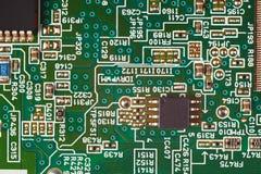 Placa de circuito eletrônico com o close up digital dos componentes fotografia de stock