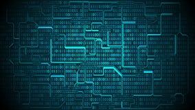 A placa de circuito eletrônico futurista abstrata com código binário, fundo da matriz com dígitos, organizou bem camadas ilustração do vetor