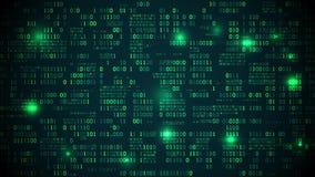 Placa de circuito eletrônico futurista abstrata com código binário, rede neural e dados grandes - um elemento da inteligência art filme