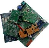 Placa de circuito eletrônico velha com componentes de rádio fotos de stock