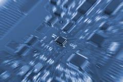 Placa de circuito eletrônico com processador Foto de Stock Royalty Free