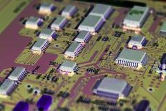 Placa de circuito eletrônico com processador Imagens de Stock Royalty Free