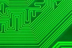 Placa de circuito eletrônico como um teste padrão abstrato do fundo Close-up macro tonificado Fotografia de Stock Royalty Free