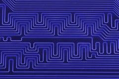 Placa de circuito eletrônico como um teste padrão abstrato do fundo Close-up macro tonificado Foto de Stock Royalty Free