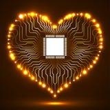 Placa de circuito eletrônico de néon abstrata na forma do coração Imagem de Stock
