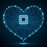 Placa de circuito eletrônico de néon abstrata na forma do coração Fotos de Stock Royalty Free