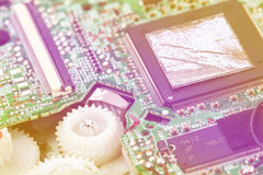 Placa de circuito eletrônico do close up Fotografia de Stock