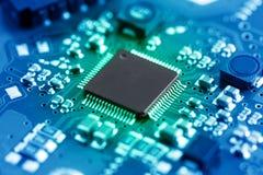 Placa de circuito eletrônico do close-up conceito do estilo da tecnologia Foto de Stock Royalty Free