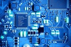 Placa de circuito eletrônico do close-up conceito do estilo da tecnologia Foto de Stock