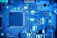 Placa de circuito eletrônico do close-up conceito do estilo da tecnologia fotos de stock royalty free