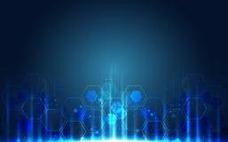 Placa de circuito futurista abstracta, alto concepto de la tecnología digital del ordenador del ejemplo, fondo del vector libre illustration