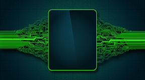 Placa de circuito futurista abstracta con la visualización electrónica, concepto de alta tecnología de la tecnología digital del  Fotografía de archivo libre de regalías