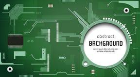 Placa de circuito impresa con verde del fondo del vector del procesador de la CPU del microprocesador Foto de archivo libre de regalías