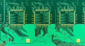 Placa de circuito impresa verde en blanco (PWB) Fotos de archivo libres de regalías