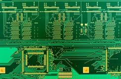 Placa de circuito impresa verde en blanco (PWB) Imagen de archivo libre de regalías