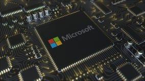 Placa de circuito impresso do computador ou PWB com logotipo de Microsoft Corporation Rendição conceptual do editorial 3D ilustração royalty free