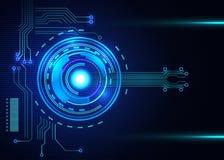A placa de circuito impresso do de alta tecnologia com diodo emissor de luz de incandescência ilumina-se Fotos de Stock Royalty Free