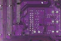 Placa de circuito impresso empoeirada Close up da alta tecnologia Fotografia de Stock Royalty Free