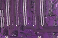 Placa de circuito impresso empoeirada Close up da alta tecnologia Fotos de Stock
