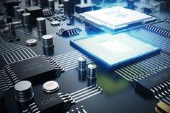 placa de circuito de la representación 3D Fondo de la tecnología Concepto de la CPU de los procesadores del ordenador central Mic stock de ilustración