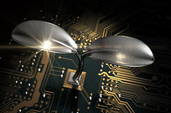 Placa de circuito macro com planta futurista Fotos de Stock