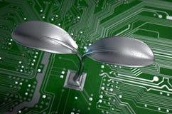 Placa de circuito macro com planta futurista Imagem de Stock