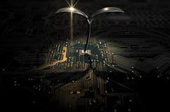 Placa de circuito macro com planta futurista Imagens de Stock Royalty Free
