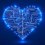 Placa de circuito na forma do coração Imagens de Stock Royalty Free