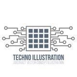 Placa de circuito no fundo branco O processador e a microplaqueta, a engenharia e a tecnologia, o cartão-matriz e o computador pr Fotografia de Stock