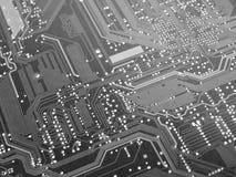 Placa de circuito preto e branco do computador fotografia de stock royalty free