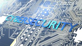 Placa de circuito que brilla intensamente y un cybersecurity azul de la palabra del metal imagenes de archivo