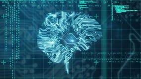 Placa de circuito que se enciende para arriba en la forma de un cerebro libre illustration