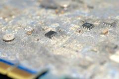Placa de circuito suja da cópia foto de stock