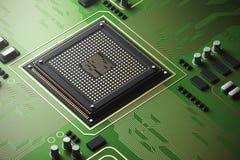 Placa de circuito verde com um processador Fotos de Stock Royalty Free