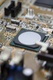 Placa de circuito video do cartão gráfico com elementos eletrônicos Fotos de Stock Royalty Free