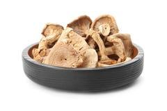 Placa de cogumelos secados saborosos fotografia de stock
